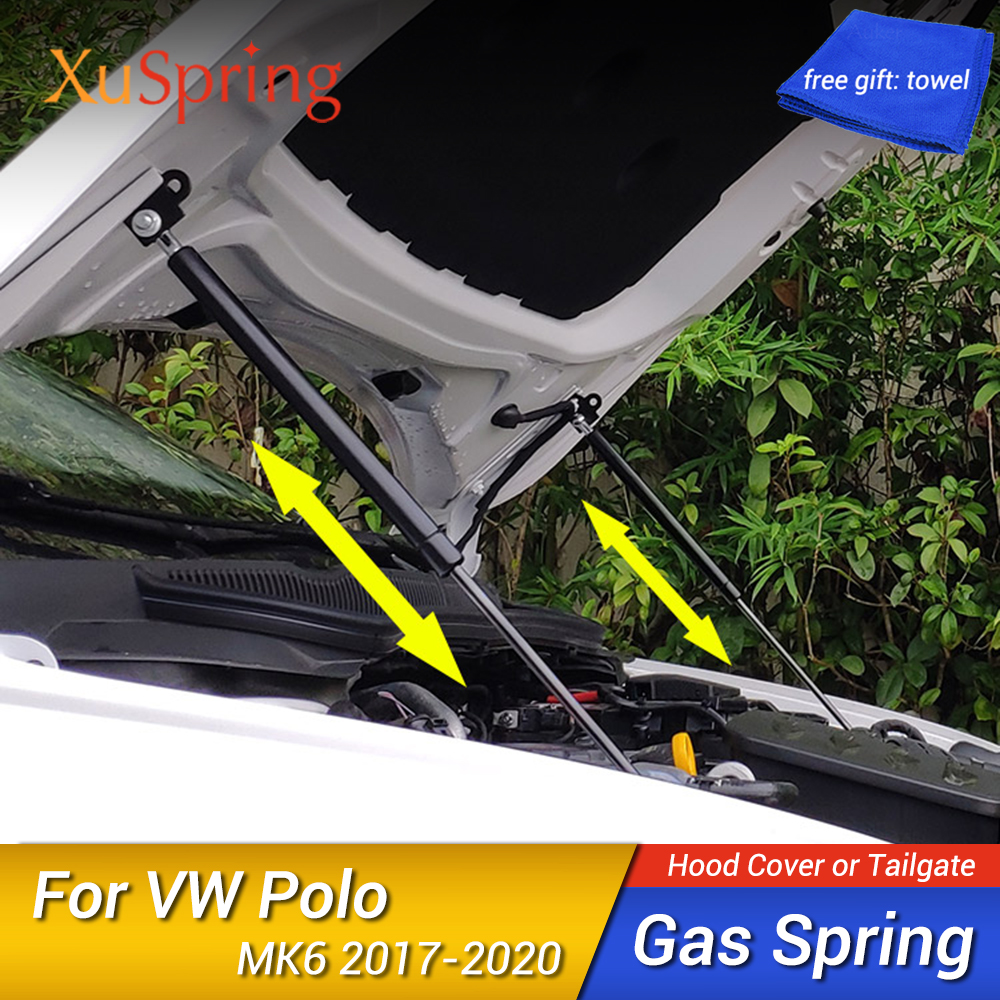 For VW Polo 2017 2018 2019 2020 AW MK6 Refit Bonnet Hood Gas Spring Shock Lift Strut Bars Support Hydraulic Rod Car-styling
