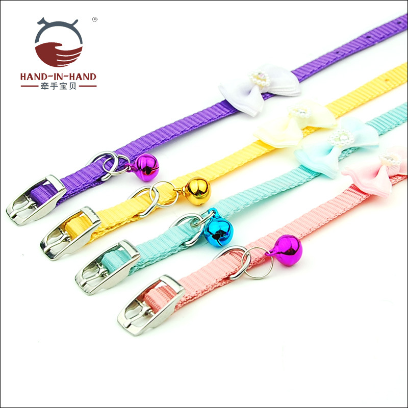 Hand-in-hand Pet Supplies Pet Collar Dogs And Cats Pet Bell Neck Ring Collar Bow Leather Buckle Small Neck Band