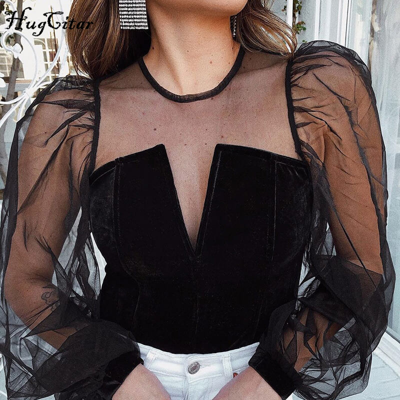 Hugcitar 2020 Long Puff Sleeve Mesh See-through Patchwork Sexy Tops Spring Women New Streetwear Party Elegant Outfits T-shirts
