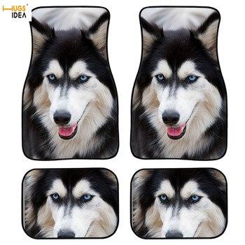 4Pcs Cute Husky Pattern Wear Resistant Mat for Auto Car Floor Mat Dustproof Vehicle Accessories Polyester Floor Mats 2020