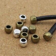 100 teile/los Loch Größe 3mm Metall Leder Cord End Kappen Perlen Ende Perlen Antike Bronze für Halskette Armband Schmuck, der