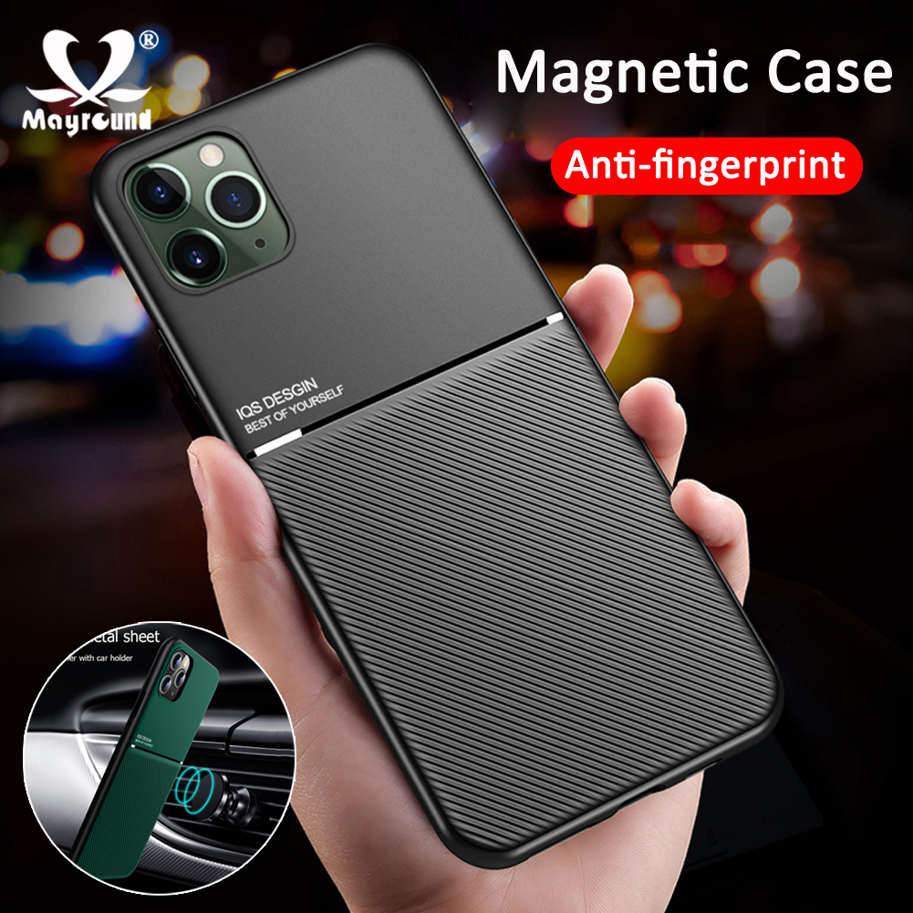 Magnetic Car Phone Case For Apple IPhone 11 Pro Max X XR XS 6s 7 8 Plus Magnet Plate Shockproof Hybrid Silicone Phone Case Cover
