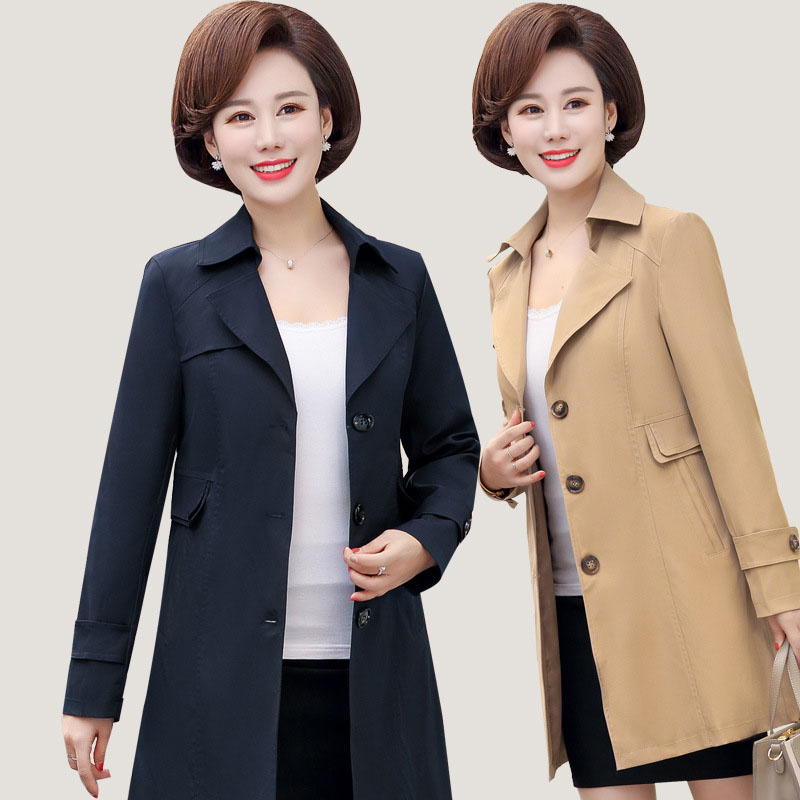 2019 Autumn New Single-breasted   Trench   Coat Female High Quality Middle-aged mother Outerwear Woman Classic Long   Trench   Coat 1039
