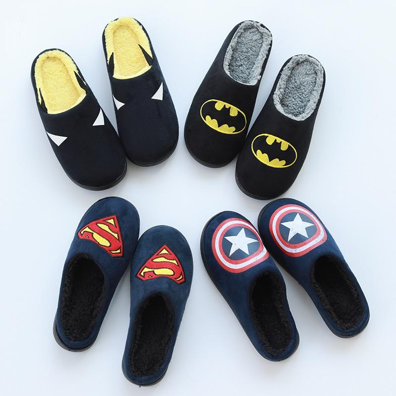 Superhero Men Home Slippers Winter Warm Soft Shoes CAPTAIN AMERICA Slipper Gift