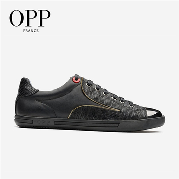 OPP 2018 Men Shoes Loafers For Men Cow Leather Flats Casual 4 Seasons Shoes Leather Loafers New footwear Snake Skin Shoes
