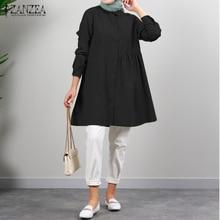 Casual Solid Long Sleeve Single-breasted Pullover Blusa Women 2021 Fashion Muslim Tops ZANZEA Spring Autumn Ruffle Blouse Tunic