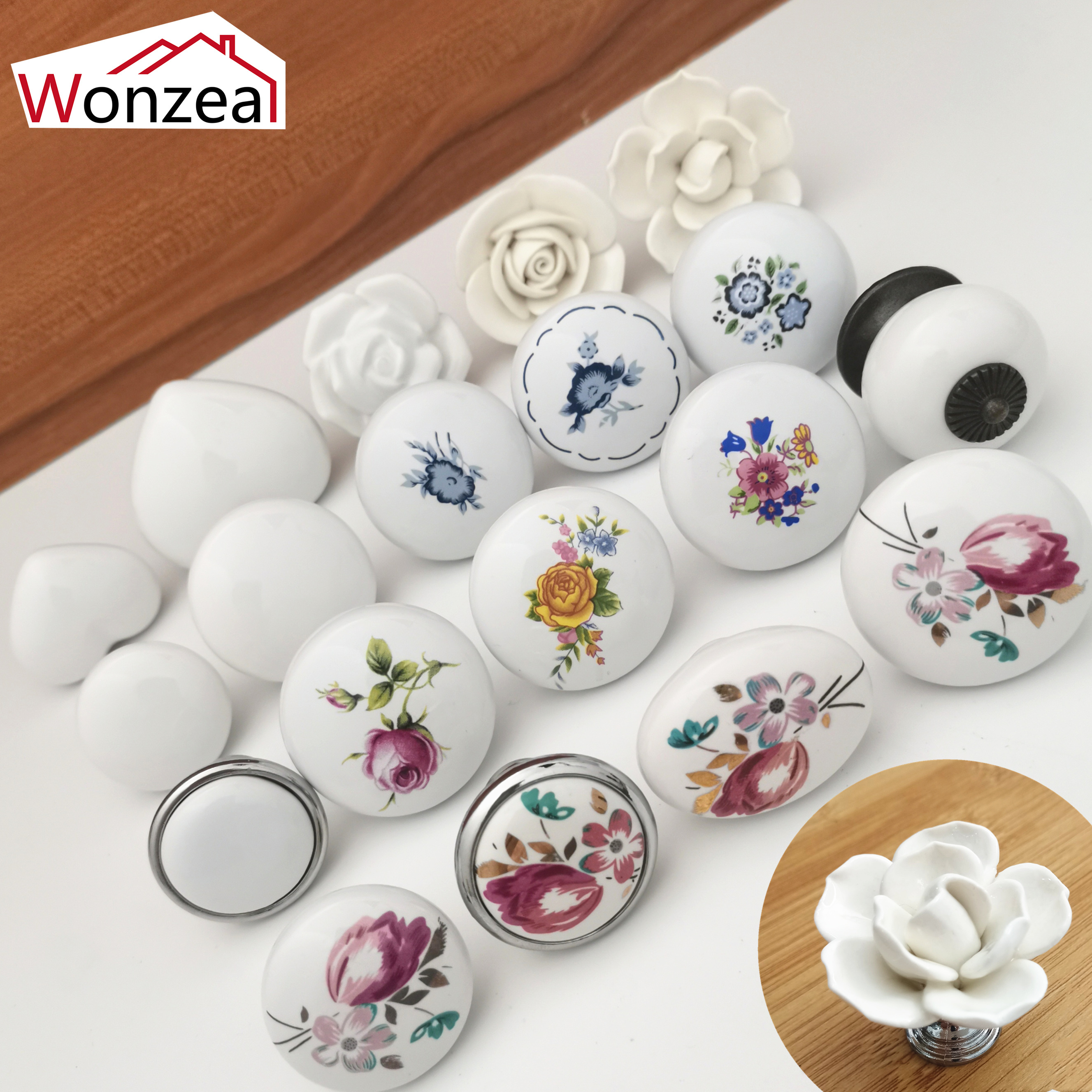 White color Rose lotus love simple Single hole Ceramic handle Kitchen Furniture handle cabinet pulls drawer knobs heart shape