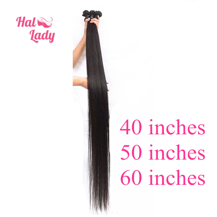 Halo Lady 26 28 30 32 34 36 40 42 44 46 48 50 60 Inches Brazilian Straight Hair Weaves Remy Human Hair Extension 1 3 4 Bundles