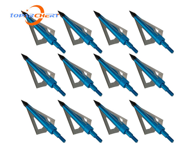 12pcs Arrow Broadheads for Crossbow Longbow Hunting Target Shooting Accessories 100GR 3 Blades Replaceable Silver Arrowhead Tips 6