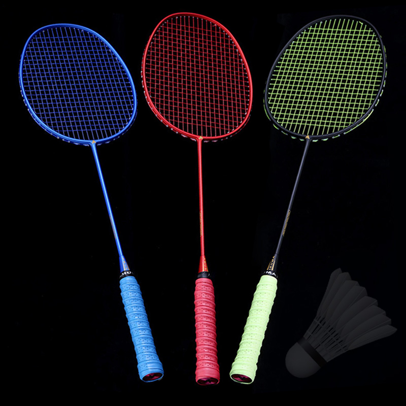Newly Ultralight 6U Badminton Racket Professional Carbon Portable Free Grips Sports