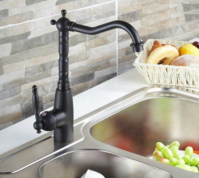 Preto Friccionado Óleo Bronze Antique Brass Cozinha Wet Bar Banheiro Vessel Sink Faucet Tap Mixer Bica Giratória Único Buraco Um punho mnf060