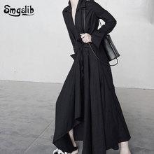 цена на 2019 Spring Winter Woman New Solid Color Long Sleeve V-neck Irregular Hem Bandage Design Draped Long Loose Dress