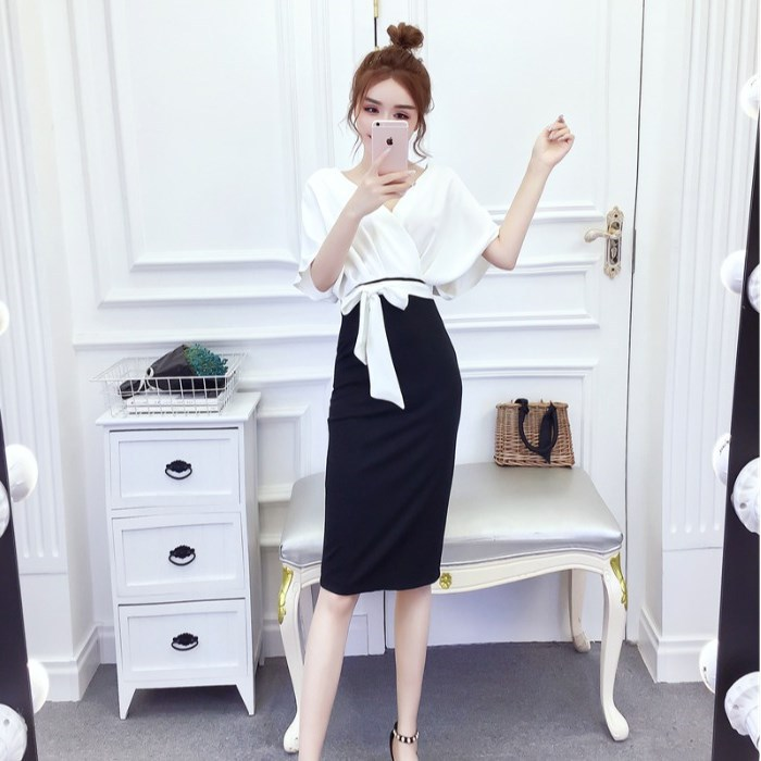 Skirt Mid-length Sheath Women's Summer High Quality Fashion Elegant Mixed Colors Bat Sleeve Bow Waist And A- Line Skirt Chao Lia