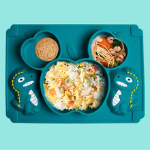 Dinossauro silicone otário pratos placa tigela conjunto de utensílios de mesa bebê alimentação conjunto mesa esteira sucção bandeja aprendizagem comer para crianças