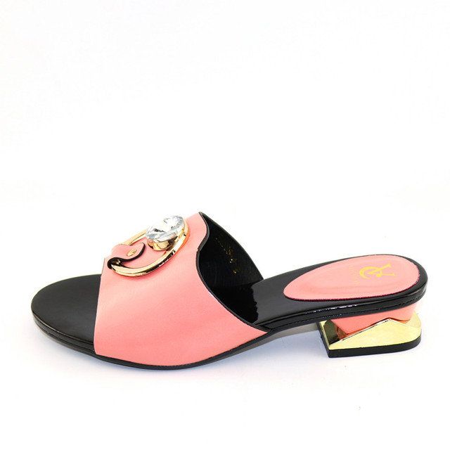 Summer Sandals pink Color PU Leather Fashion Shoes possible match dinner bag set Free Shipping African Woman Shoes without bag