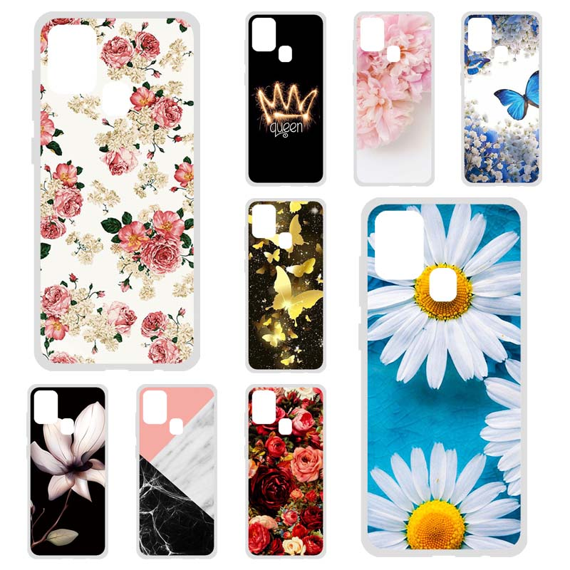 Soft TPU Case For Samsung A21s Case Silicon Floral Bumper Coque For Samsung Galaxy A21s SM-A217F Covers Protective Fundas Etui