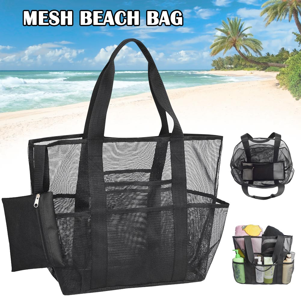 XXL Mesh Beach Bag Outdoor Mesh Beach Bag Mesh Bag For Sand Toys, Extra Large Family Mesh Beach Bag Tote Black Double-layer Heat
