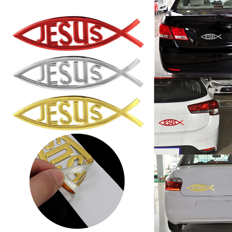 Jesus Fish 3D Car Sticker Soft PVC Chromed Emblem Badge Car Styling Decoration Waterproof Decal Christian Decal Sticker