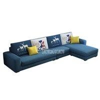 Modern Design 4 Seat Washable Living Room Sofa Set Fashion Pattern Solid Wood Frame Soft Sponge L Shape Home Furniture