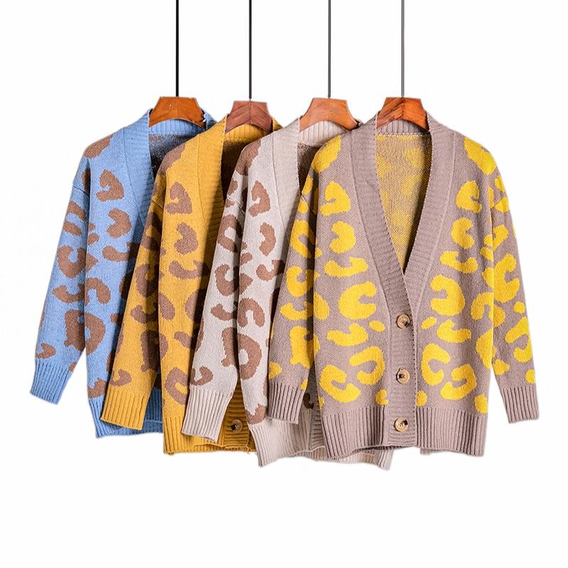 Sweater Women Fashion Leopard Print Long Sleeve Cardigan Coat 2019 Casual Jumper V Neck Button Up Cardigan Top Autumn Outwear
