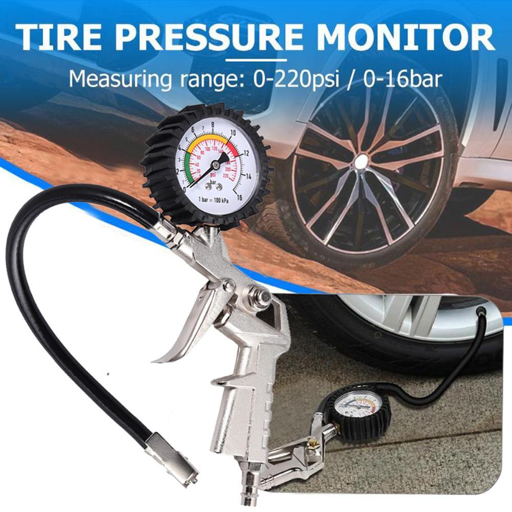 0-220PSI Tyre Air Inflator Dial Pressure Meter Gauge Air Tyre Inflator With Gauge For Car Van Tool Air Compressor