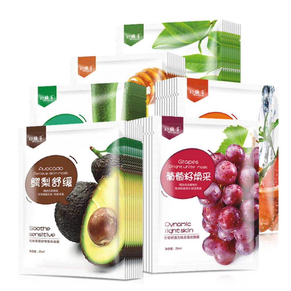 1 pc fruta máscara facial fornecimento hidratante controle de óleo máscara maçã & morango kiwi & laranja folha de frutas máscara cuidados com a pele