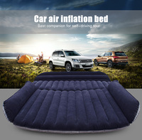 Car Travel Bed Inflatable SUV Back Seat Cover Air Mattress Camping Companion Flocking Cloth with 2 Air Taps Universal Outdoor