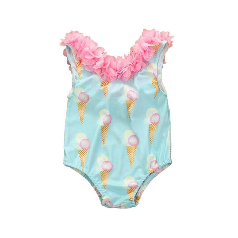 Toddler Baby Girl Ruffle Bikini Swimsuit Kids Girl Ice Cream Swimwear Swimming Clothes