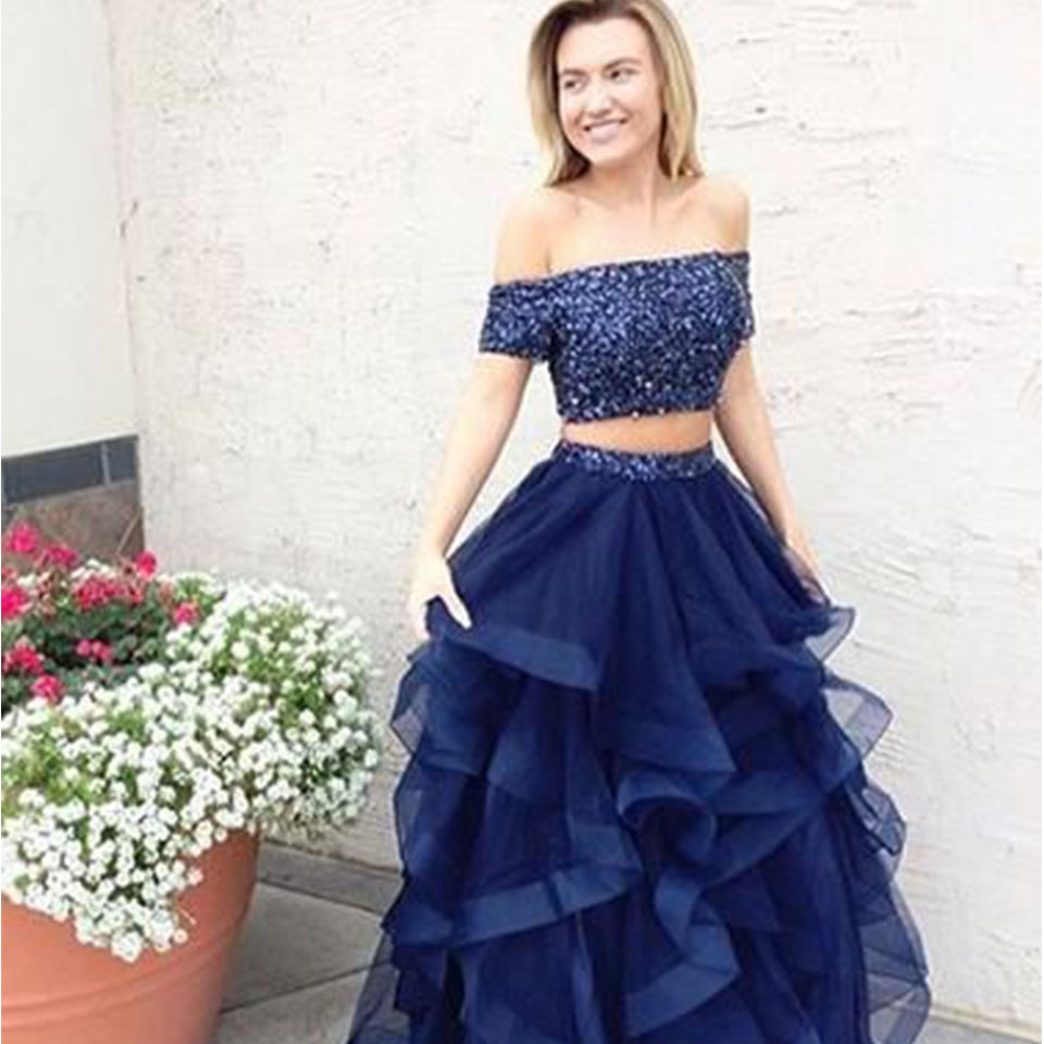 Two Piece Prom Dresses Off The Shoulder Lace Up Back Long Dress For Party Tulle Ruffled Floor Length Formal Gown With Sequins