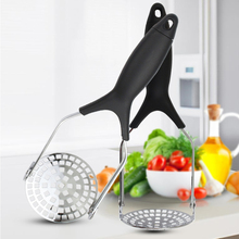 Stainless Steel Pusher Potato Masher With Broad Mashing Plate Press Crusher Kitchen Tool Supplies