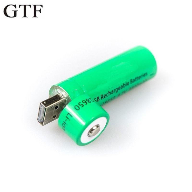 GTF 18650 USB Rechargeable Li-ion Battery 3.7V 3800mAh Lithium Ion USB Charging Socket For Flashlight Torch Drop Shipping