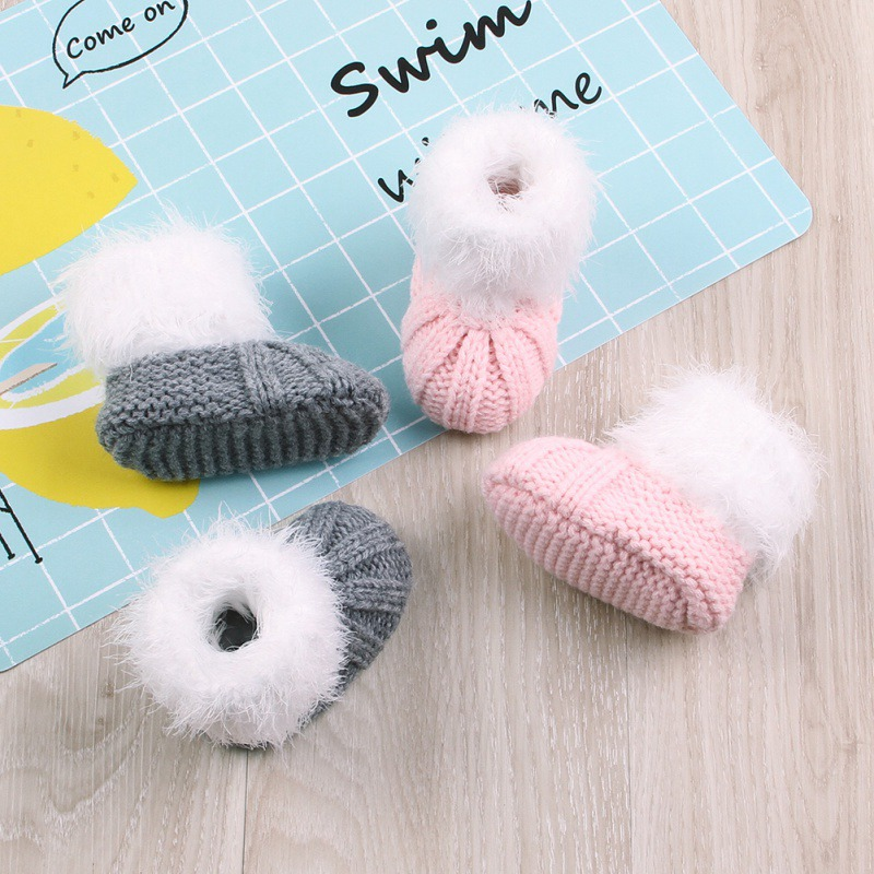 0-24M Winter Baby Boots Toddler Crib Shoes Infant Boys Girls Solid Print Knitted Shoes Winter Soft Warm Baby Booties