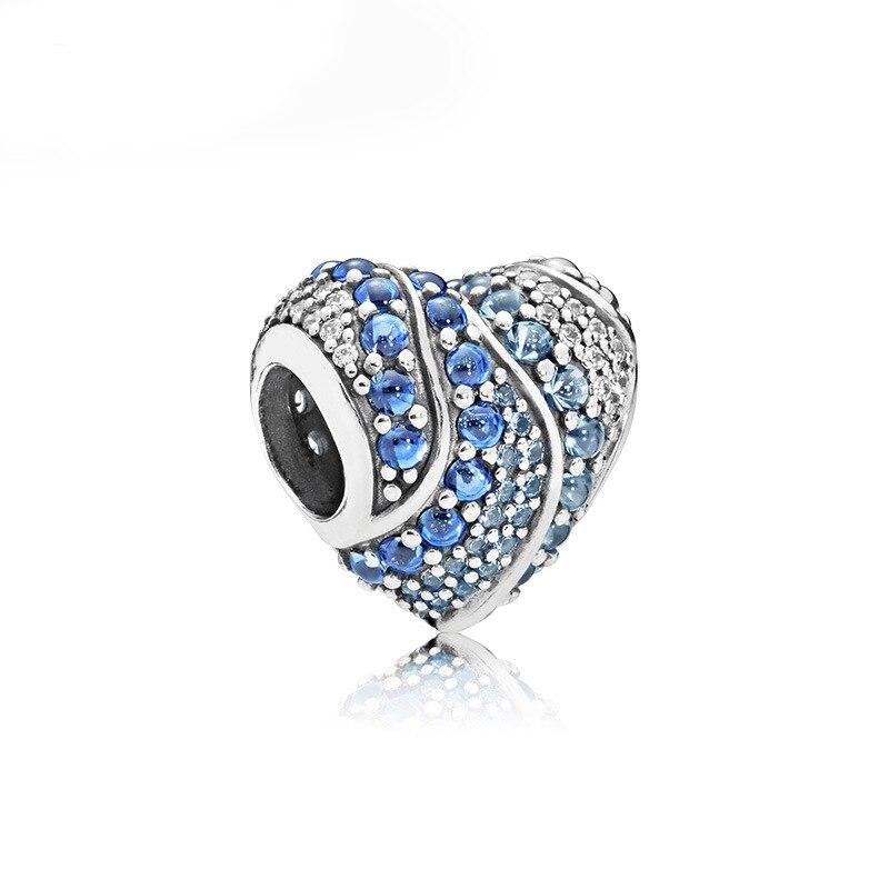 Новинка, сплав, бисерная подвеска в виде сердца для семьи, мамы, папы, любви, подходит для Пандоры, браслет, ожерелье, сделай сам, Женские Ювелирные изделия - Цвет: Aqua Heart