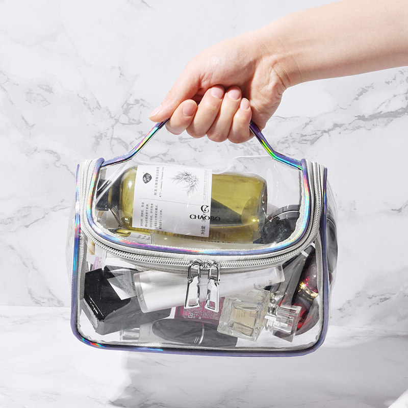 Women Transparent Travel Makeup Bag Fashion Laser Handbag Zipper Wash Organizer Storage Beauty Make Up Waterproof Cosmetic Case