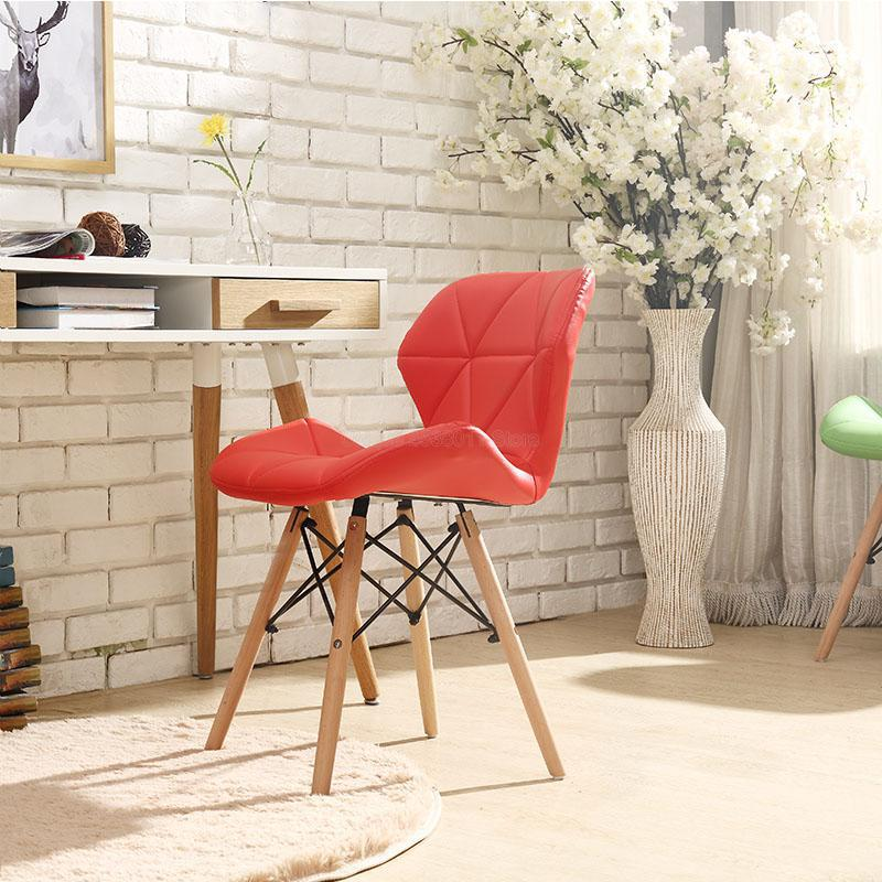 1pcs Modern minimalist dining chair home restaurant chair computer chair solid wood Nordic living room chair Make Up Chair