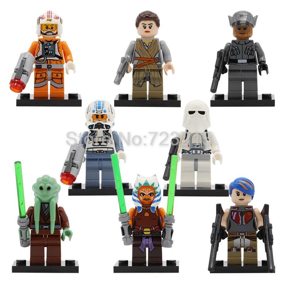 Single Sale Rey Figure Kit Fisto Sabine Wren Captain Jag Snowtrooper Ahsoka Tano Model Set Building Blocks Brick Toys Legoing