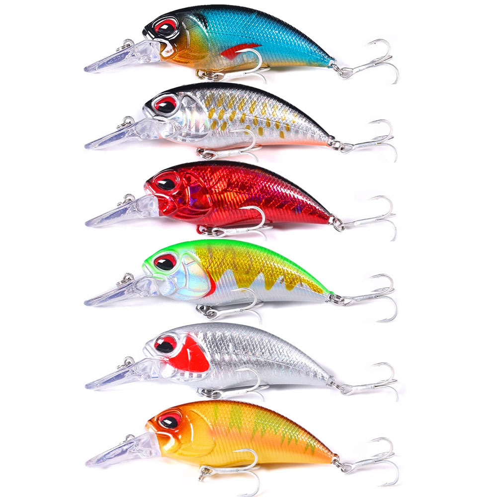 HENGJIA 1pcs 8cm 15.5g Diving Crankbait Fishing Wobbler With Strong Hook Artificial Hard Bait 0.2~0.8m Depth