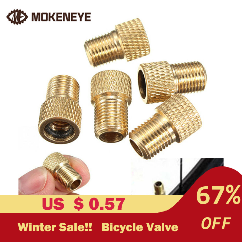 5 Pcs Bicycle Mountain Bike Pump Air Valve Inner Tube Caps Mouth Brass Rubber Ring Adapter Ozzle Tube Tool Bicycle Accessories