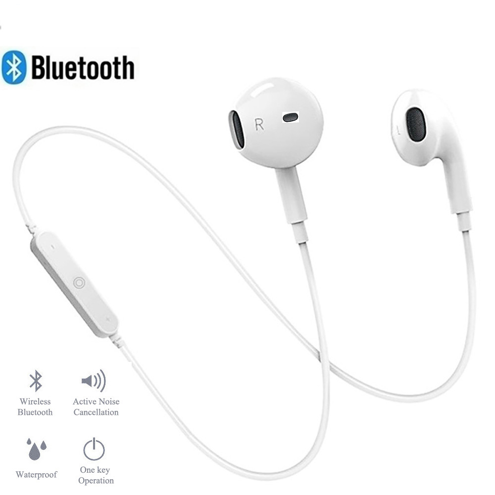 <font><b>S6</b></font> <font><b>Wireless</b></font> <font><b>Bluetooth</b></font> Earphones Bass Loudly Headset Neckband life Sport stereo In-Ear With Microphone for iPhone 11 Samsung s9 image