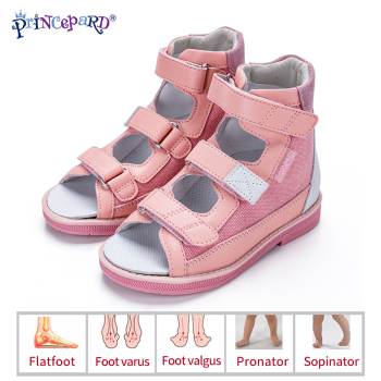 Princepard Children Sandals for Girls Princess Leather Orthopedic Shoes Pink Summer Toddler Kids Girls Corrective Sandals
