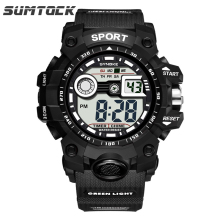купить Sumtock Military men watch Big Number Face Eesy Read  3Bar Back Light Repeater Young Wristwatch Shock Sports Watch по цене 553.06 рублей
