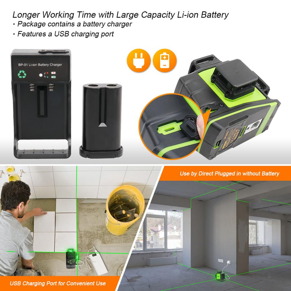 Tools : Huepar 3x360 Laser Level 3D Green Beam Self-leveling Cross Line Three-Plane Leveling Alignment Laser Tool USB Charging Port