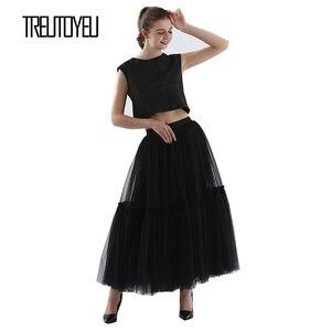Image 2 - Treutoyeu ออกแบบหรูหรา Tulle จีบกระโปรงสีดำสีเทานุ่มตาข่ายสูงเอว Maxi กระโปรงยาวผู้หญิง Faldas Mujer Moda 2020 jupe