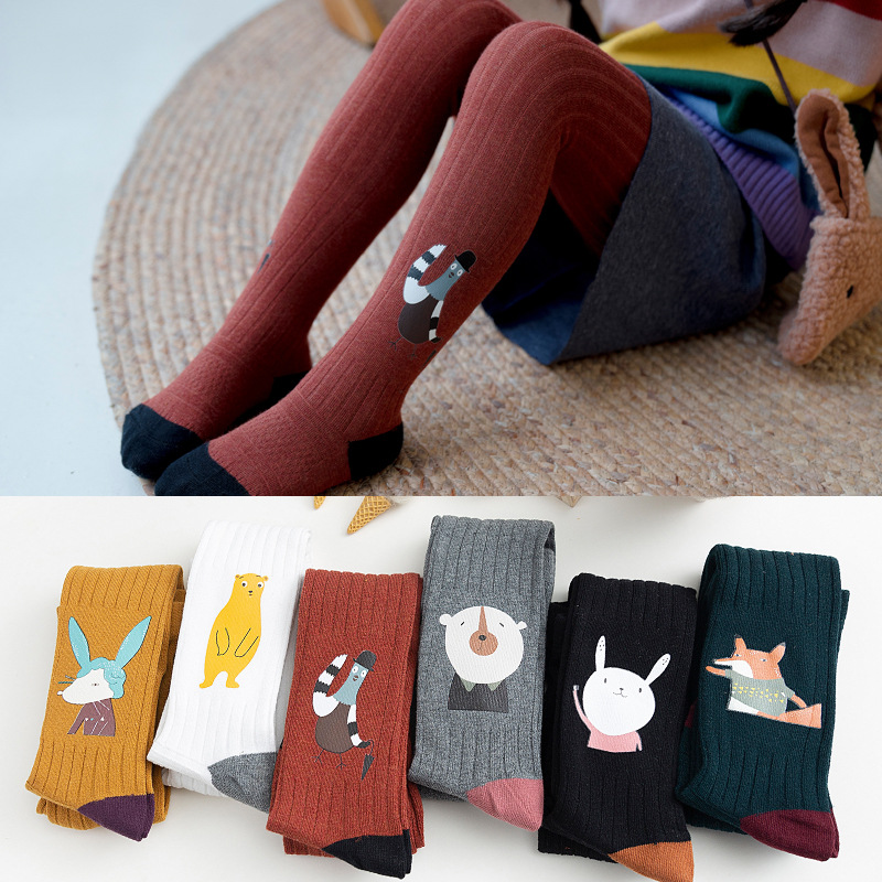Autumn Winter Children Tights Thick Cotton Knitted Baby Pantyhose Cartoon Animal Printing Tights Stockings For Girls 1-12 Years