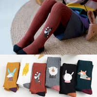 Outono inverno crianças collants de algodão grosso malha meia-calça do bebê dos desenhos animados animal impressão collants meias para meninas 1-12 anos