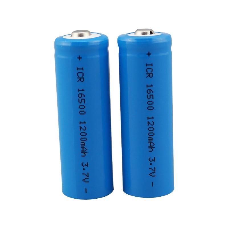 2 unids/lote Vbatty 16500 batería 1200mah 3,7 V batería recargable de iones de litio batería 16500 con botón superior para linterna