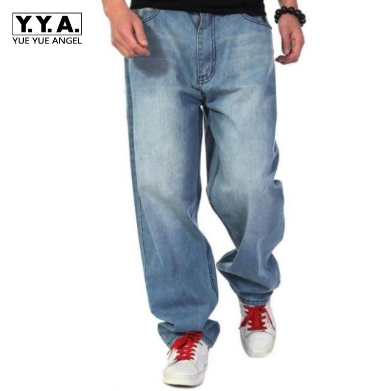 Large Size Man Loose Hip Hop Wash Blue Jeans Baggy Denim Pants Men Casual Classic Cowboys Plus Size 30-46 Pantalon Homme Jean