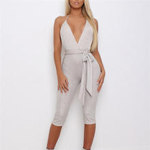 2020 Fashion Solid Sexy V-Neck Backless Jumpsuits Outfits Women Clubwear Skinny Jumpsuit caged neck skinny solid jumpsuit