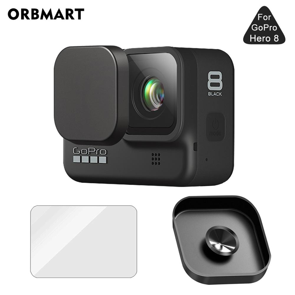 Lens Cap Protective Silicone Lens Cover Case Black For GoPro Hero 8 Tempered Glass Screen Protector For Go Pro 8 Camera