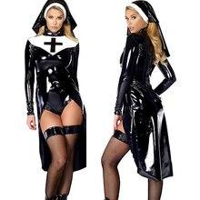 Mulher saintlike sedutor traje de couro falso pvc wetlook freira traje halloween cosplay fantasia vestido